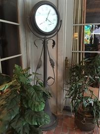 Several Outdoor Patio Plants, Patio Furniture and Decor including this Lovely Patio Clock on Stand