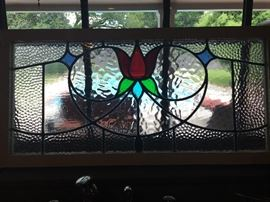 "Vintage Stained Glass  in Cypress Frame Size 46"" x 17.5"""