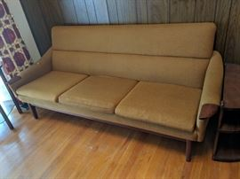 $225  Mid century gold sofa (as is)