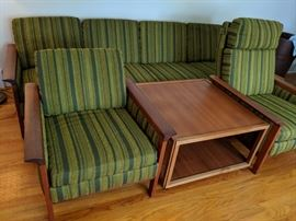 $400 Green sofa, $150 each chair, $60 table on wheels
