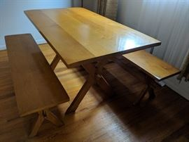 $100  Pine table  with bench seating