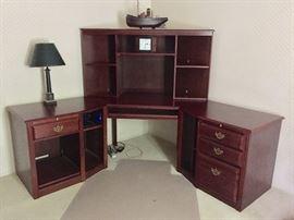 Beautiful Dark Wood Office Furnture, Corner Desk and Bookcase