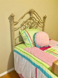 Twin Bed Cream Colored Metal Headboard / BedFrame and Mattress