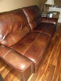 Brown leather sofa recliner no rips or tears
