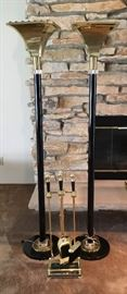 Floor Lamps and Fireplace Set
