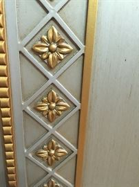 Detail on armoire, dresser, nightstands. hand painted silver/gold.