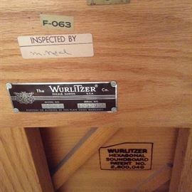 WURLITZER PIANO. SERIAL NUMBER 1232935