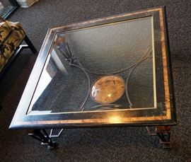 """Metal And Glass Coffee Table, 16.5""""H x 38""""W x 38""""D"""