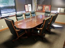 """Solid Wood Oval Conference Table With Glass Top, 30""""H x 120""""W x 48""""D"""
