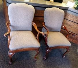Statesville Chair Co Upholstered Claw Foot Chairs, Qty 2