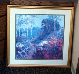 "Silk Flower Arrangement, Landscape Print, 33"" x 33"" And Pendulum Clock"