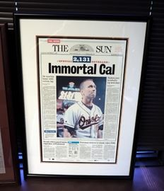 """Framed Newspaper Sports Articles On George Brett's Final Home Game, 28"""" x 18"""" And The Immortal Cal Ripken, 29"""" x 20.5"""""""