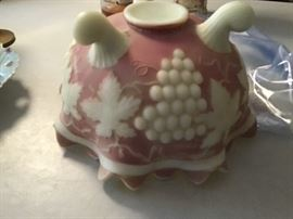 Marked Northwood Custard Glass Footed Bowl