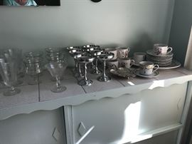 etched crystal stemware, crystal dessert glasses, silver wine goblets from spain, dishes