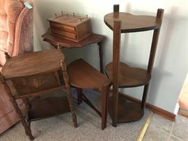 late 1800's wooden pipe stand, wooden accent tables
