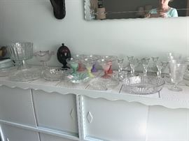 crystal and glassware: serving pieces, candlesticks, triffle dish