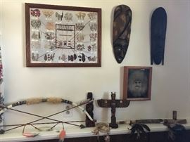 Native American: framed art, wood carvings. Wooden African masks