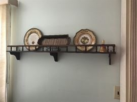 wooden shelf, decorative plates