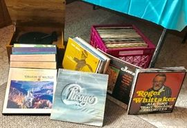 LP turntable, albums from the 50s, 60s, 70s, 80s including classical, contemporary, orchestra, strings, piano, 70's rock, country, musicals, children's, and more.