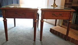 Pair Henredon Side Tables with Glass Tops