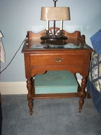 Vintage glass topped nightstand, lamp and box