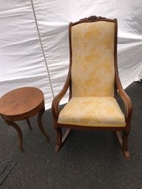 Antique Rocker and Side Table