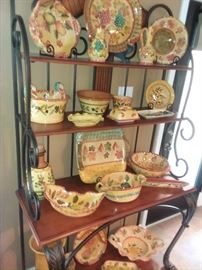 This ceramic set was Imported From Italy!! The WHOLE set Is a silent auction item (Not sold individually) Highest bid to date  is $105.00 = Beat the bid and YOU own it, just send a text bid to 713-249-4777.