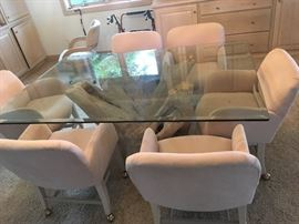 Gorgeous natural wood base dining table glass top, dining chairs