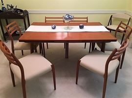 1. Mid Century Modern MCM Neils Moller Set 6 chiars and Dining table