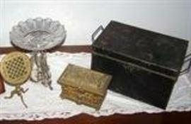 Victorian silver epergne; work box