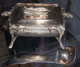 Figural Silverplate Caviar Box
