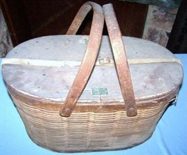 Victorian Tin Lined Picnic Basket with Ice Compartment