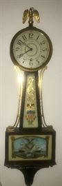 Antique Seth Thomas  Banjo Clock ! Original glass painting excellent patriotic theme.