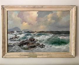 Antique painting seascape exquisite colors signed