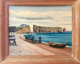 Small vintage painting coastal scene