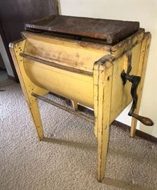 Primitive mustard yellow butter churn !
