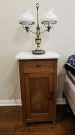 Anique lamp and one of two matching night stands