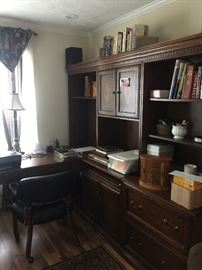Office desk, credenza, and hutch