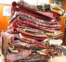 LARGE Selection of Estate Rugs including  Needlepoint, Karastan, Heriz, Oriental, Asian, and others  Located Inside – Auction Estimate $50-$700
