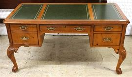"Mahogany Ball and Claw Green Leather Top 4 Drawer Executor Desk  by ""Hekman Furniture"" Grand Rapids, Michigan  Located Inside – Auction Estimate $300-$600"