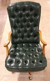 Green Leather Button Tufted Scroll Arm Office Chair  Located Inside – Auction Estimate $100-$300