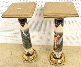 — NICE MODEL —  PAIR of French Style Porcelain, Bronze, and Marble Pedestals in the manner of Serves  Located Inside – Auction Estimate $300-$600