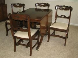 Drop leaf and chairs