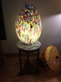 Leucos Italian glass egg shape lamp, 2 foot tall