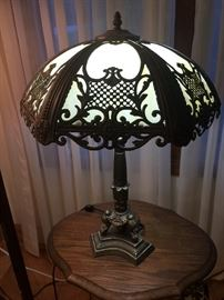 Antique stain glass slagTiffany style lamp