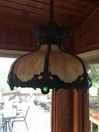 Antique Tiffany slag hanging lamp