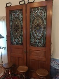 Vintage wood doors with stainglass, doors are 8ft tall and 31inchs wide per door.
