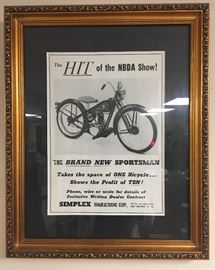 Framed Ad for Sportman Bicycles        http://www.ctonlineauctions.com/detail.asp?id=746640