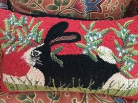 lots of bunny themed items like this nice needlepoint pillow
