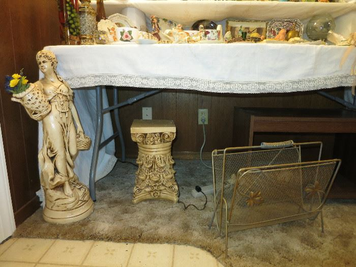 Lady Statue, Plant Stand and Magazine Rack